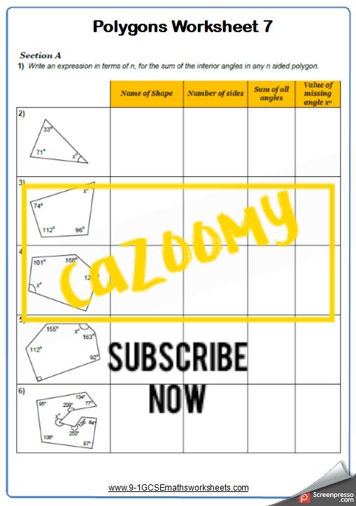 Polygons Worksheet 7