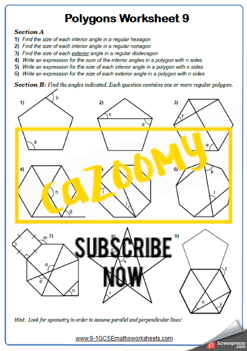 Polygons Worksheet 9