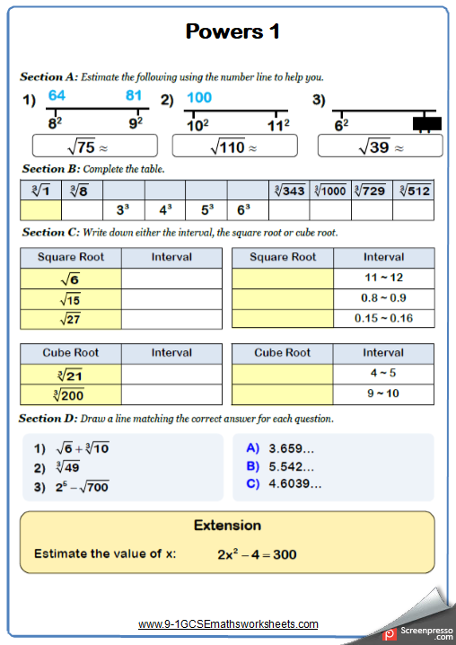 Powers Maths Worksheet 1