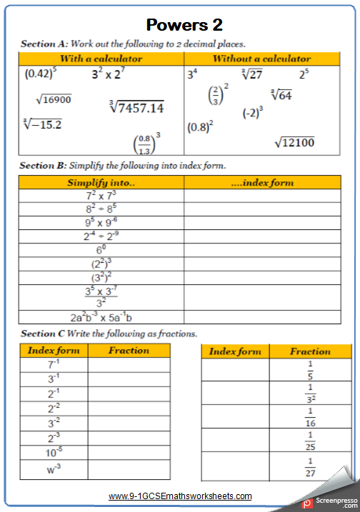 Powers Maths Worksheet 2