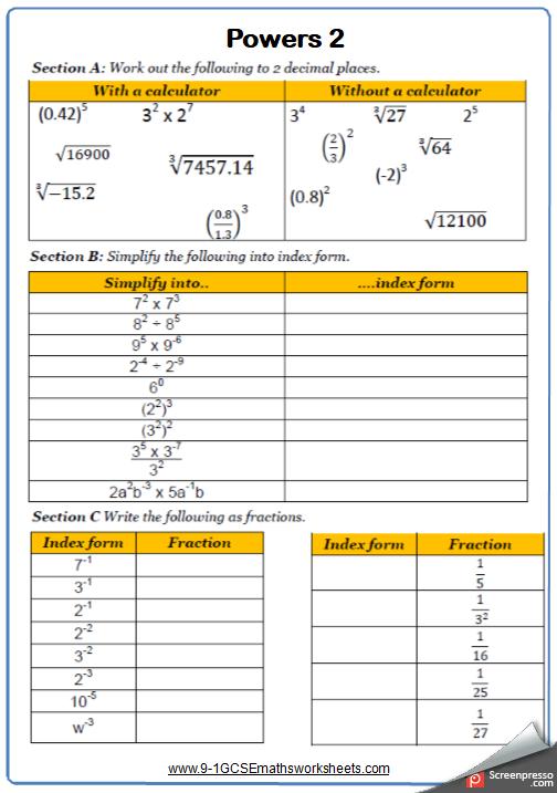Powers Maths Worksheet 2