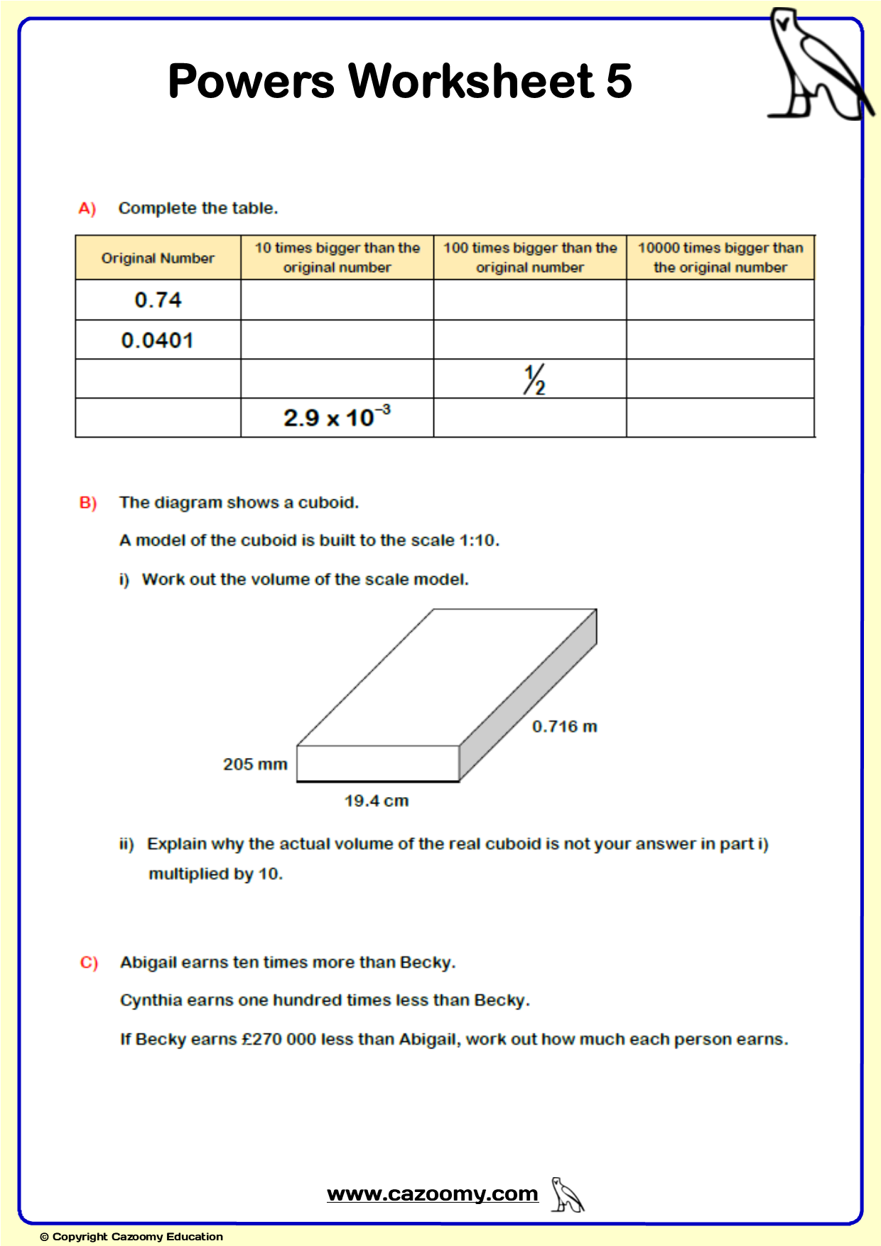 Powers Maths Worksheet 5