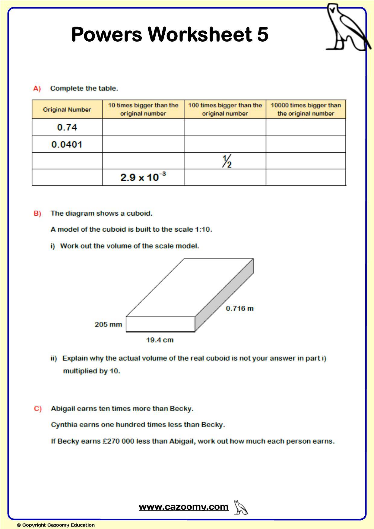 Powers Maths Worksheet 5