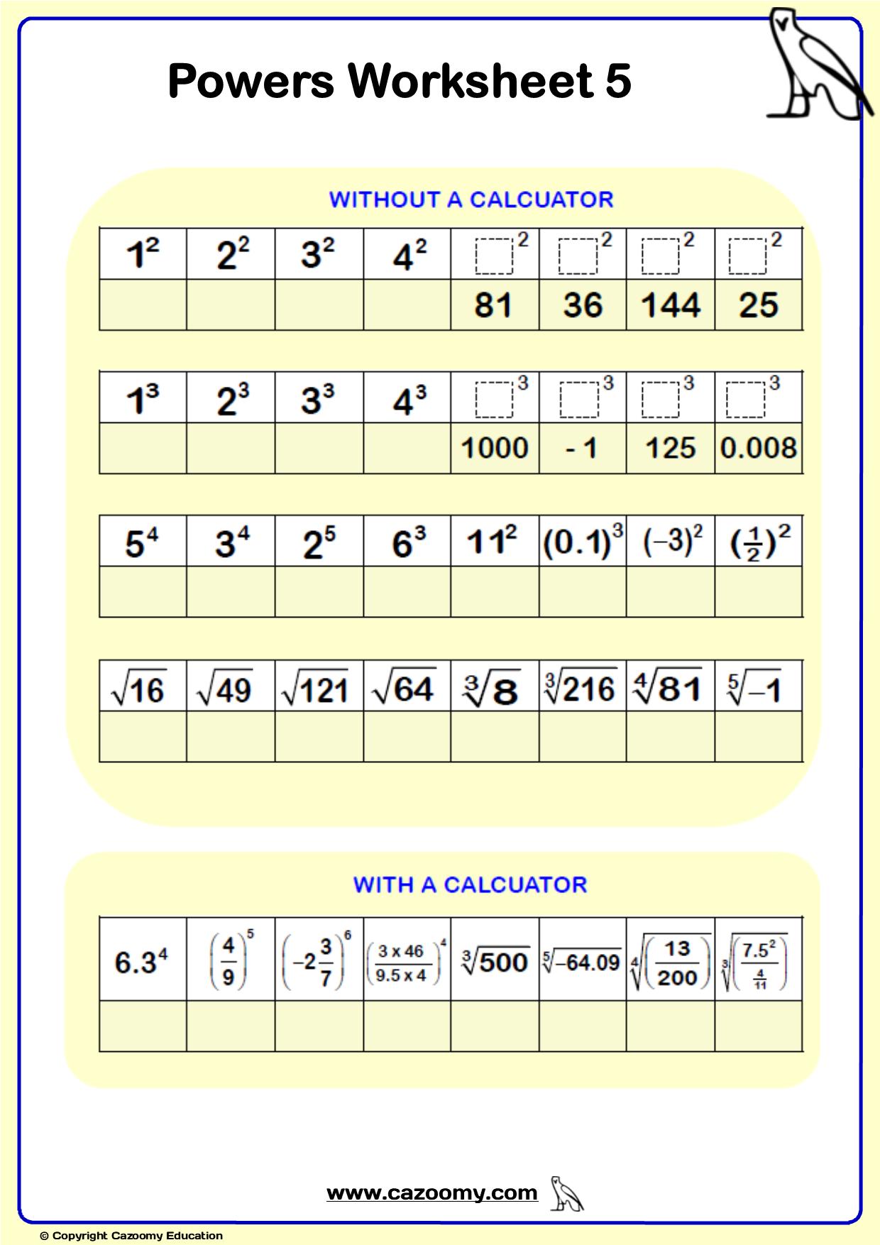 Powers Maths Worksheet 6