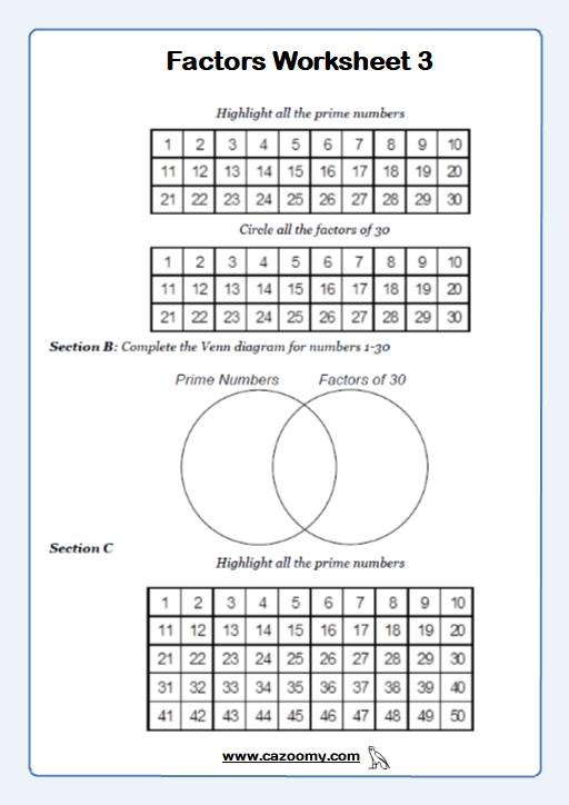 Prime Numbers Worksheet 1