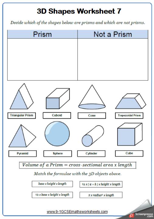 Prisms Worksheet 2