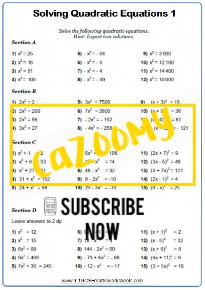 Quadratic Equations Worksheet 1