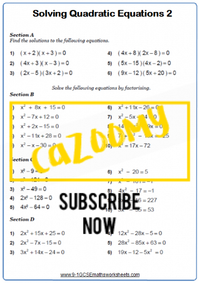 Quadratic Equations Worksheet 2