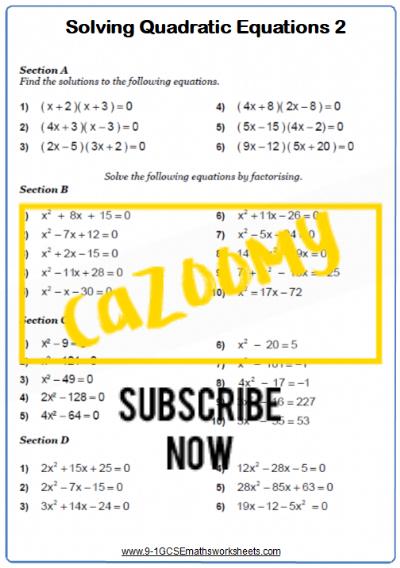 Quadratic Equations Worksheet 2