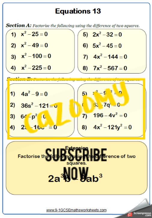 Quadratic Equations Worksheet 4