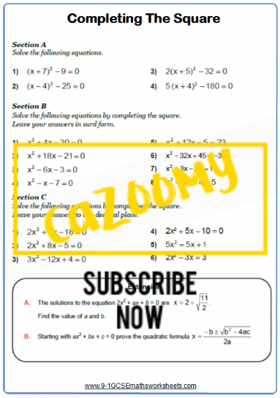 Quadratic Equations Worksheet 5