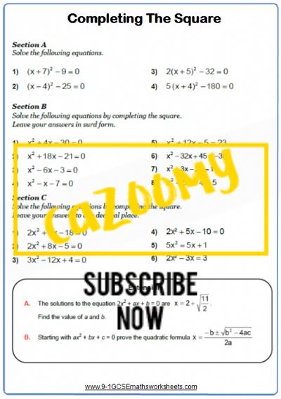 Quadratic Equations Worksheet 5
