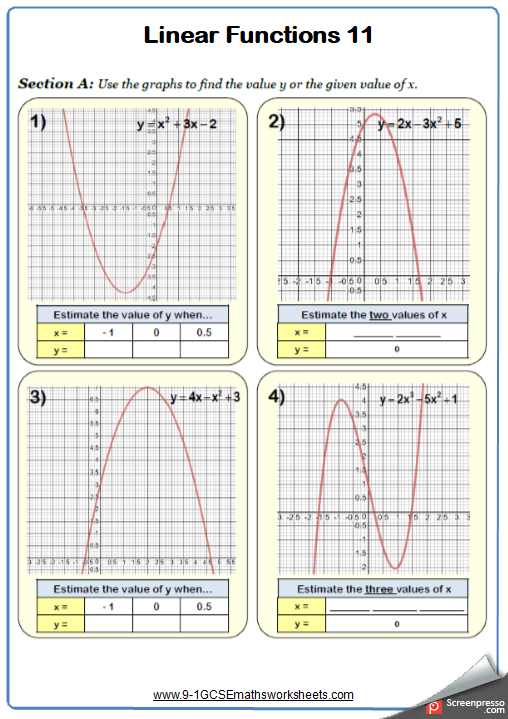 Quadratic Graphs Worksheet 2