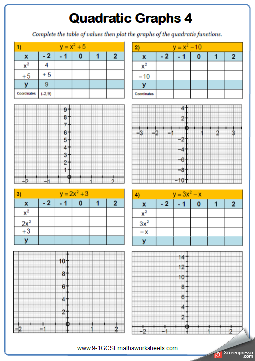 Quadratic Graphs Worksheet 4
