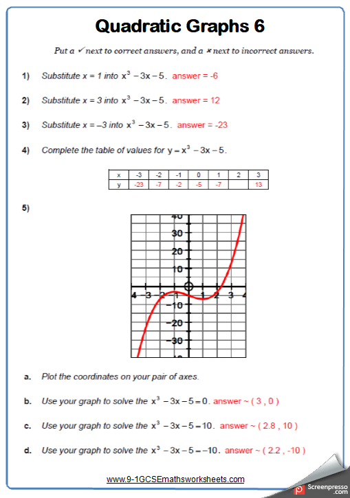 Quadratic Graphs Worksheet 6