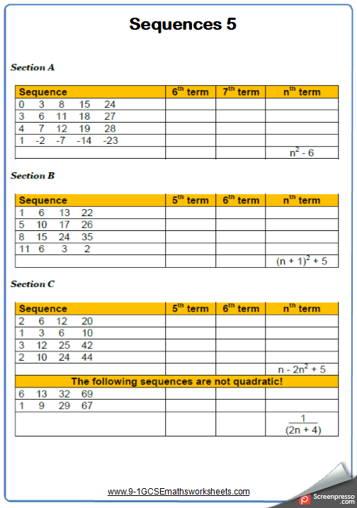 Quadratic Sequences Worksheet 1
