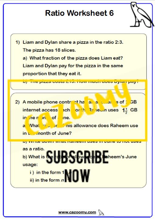 Ratio Proportion Worksheet 6