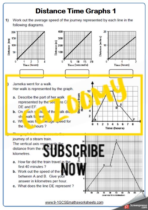 Real Life Graphs Worksheet 1