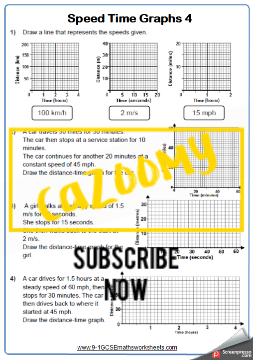 Real Life Graphs Worksheet 4