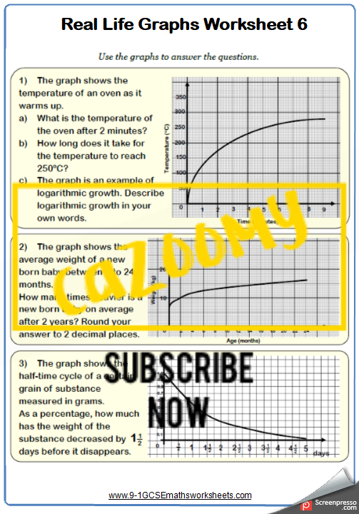 Real Life Graphs Worksheet 6
