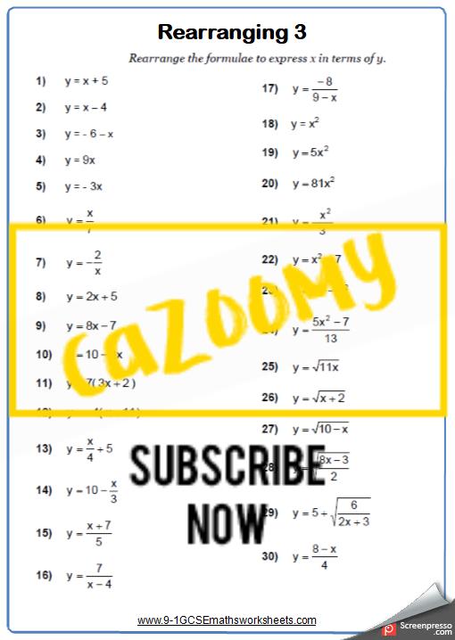 Rearranging Formulae Worksheet 3