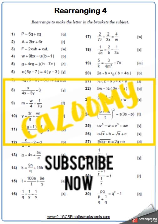 Rearranging Formulae Worksheet 4