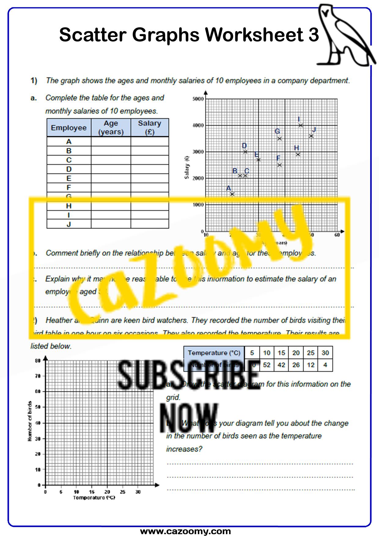 Scatter Graphs Worksheet 3