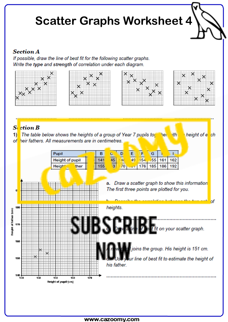 Scatter Graphs Worksheet 4