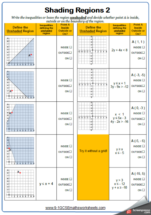 Shading Regions Inequalities Worksheet 2