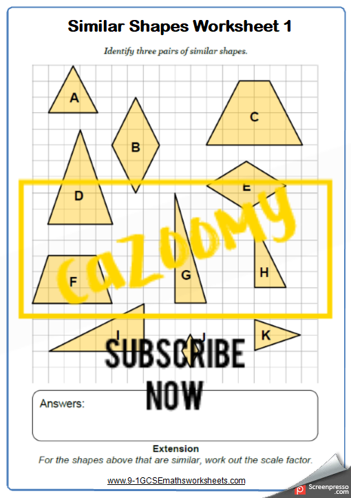 Similar Shapes Worksheet 1
