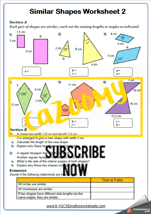 Similar Shapes Worksheet 2