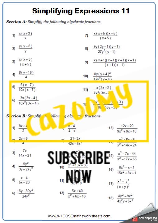Simplifying Expressions Worksheet 11