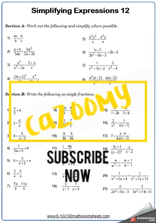 Simplifying Expressions Worksheet 12