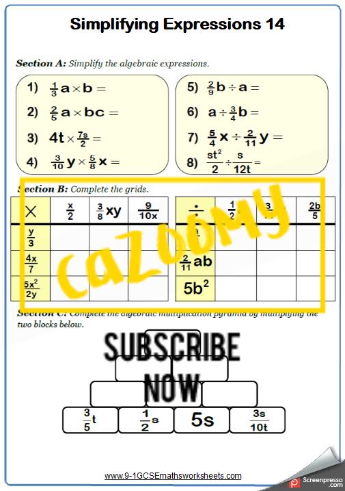 Simplifying Expressions Worksheet 14