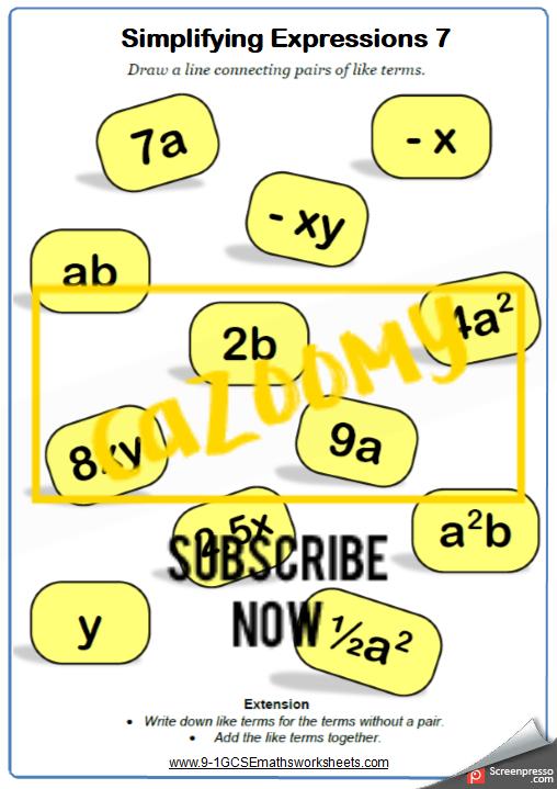 Simplifying Expressions Worksheet 7