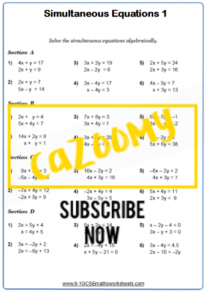 Simultaneous Equations Worksheet 1