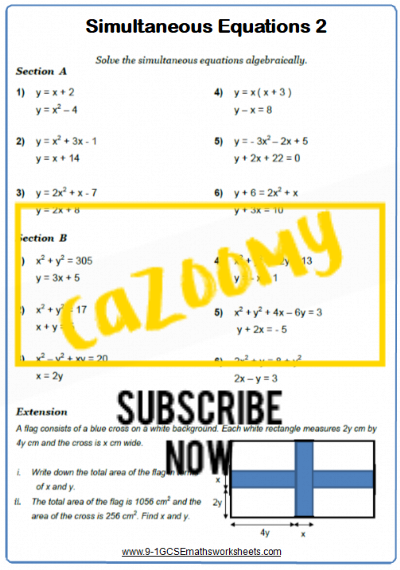Simultaneous Equations Worksheet 2