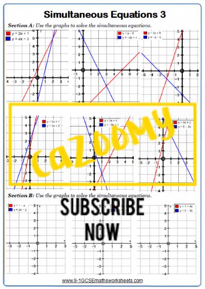 Simultaneous Equations Worksheet 3