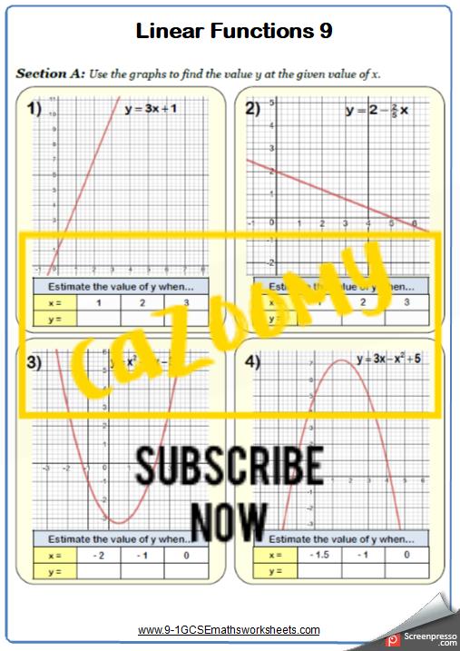 Simultaneous Equations Worksheet 5