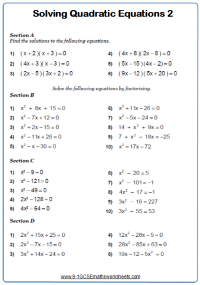 Solving Quadratic Equations Worksheet 2