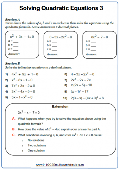 Solving Quadratic Equations Worksheet 3
