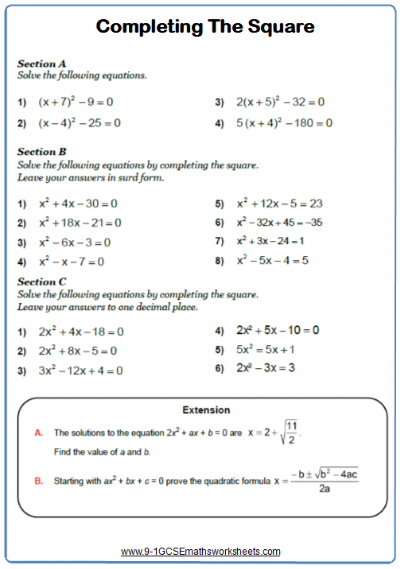 Solving Quadratic Equations Worksheet 4