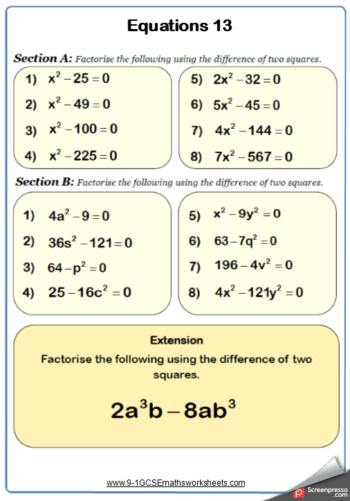 Solving Quadratic Equations Worksheet 5