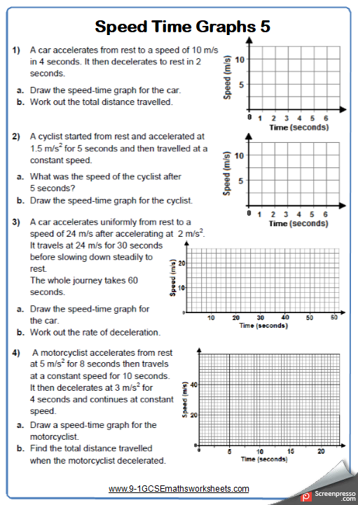 Speed Time Graphs Worksheet 2