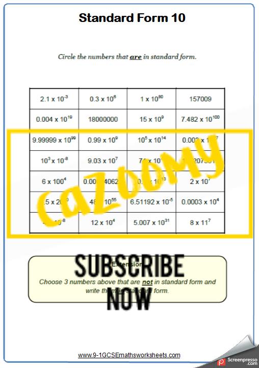 Standard Form Worksheet 10