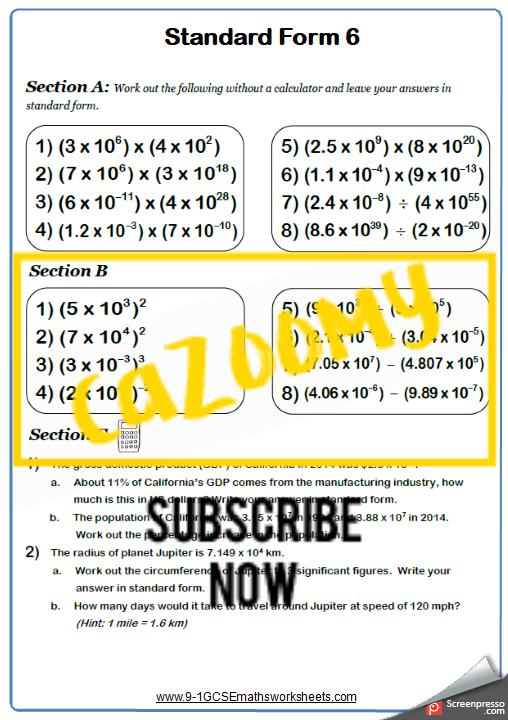 Standard Form Worksheet 6