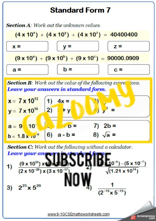 Standard Form Worksheet 7