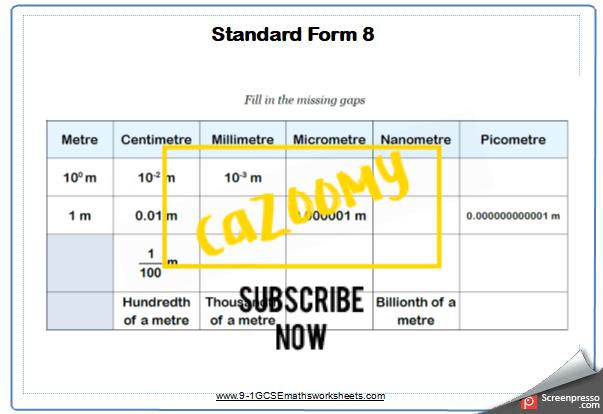 Standard Form Worksheet 8