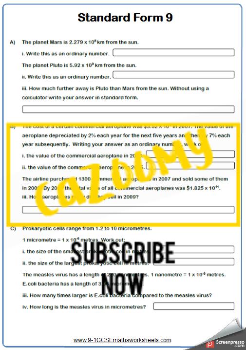 Standard Form Worksheet 9