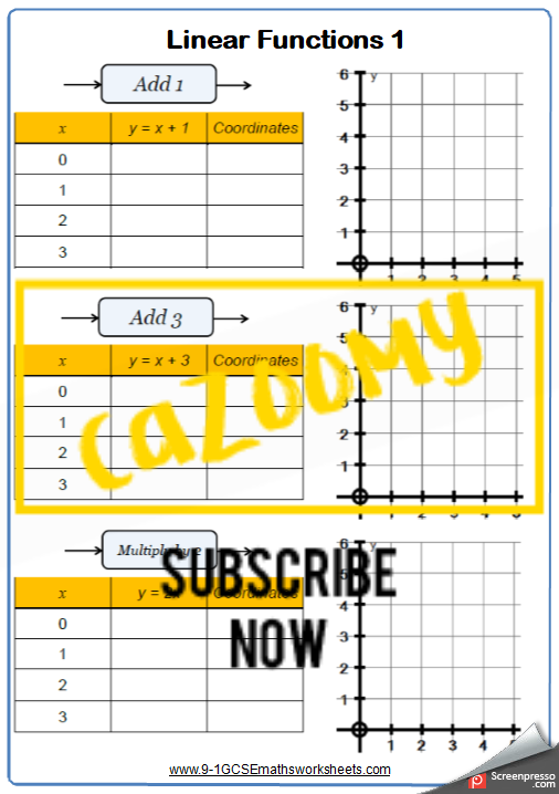 Straight Line Graphs Worksheet 1